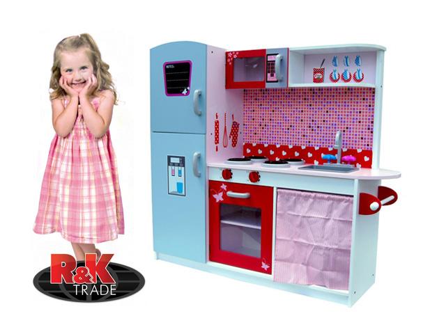 Dětská dřevěná kuchyňka kuchyň s lednicí