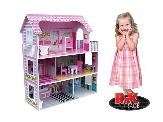 Dřevěný domeček pro panenky + nábytek