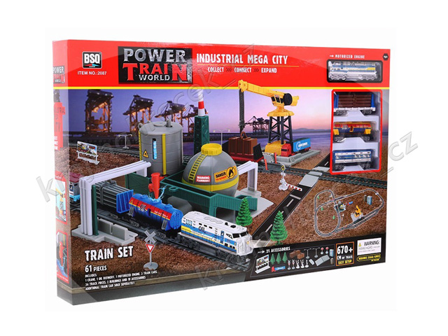 Vlačkodráha nákladní vlak mašinka na baterie + jeřáb