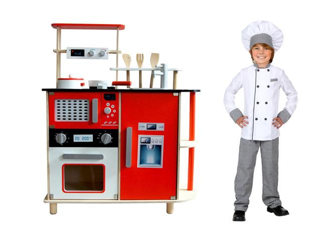 Dětská dřevěná kuchyňka kuchyň s mikrovlnkou + doplňky