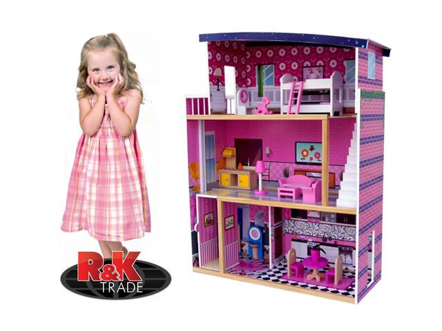 Veliký dřevěný domeček pro panenky s výtahem + nábytek