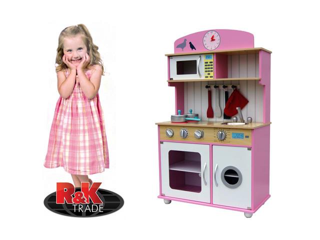 Dětská dřevěná kuchyňka kuchyň s pračkou + doplňky