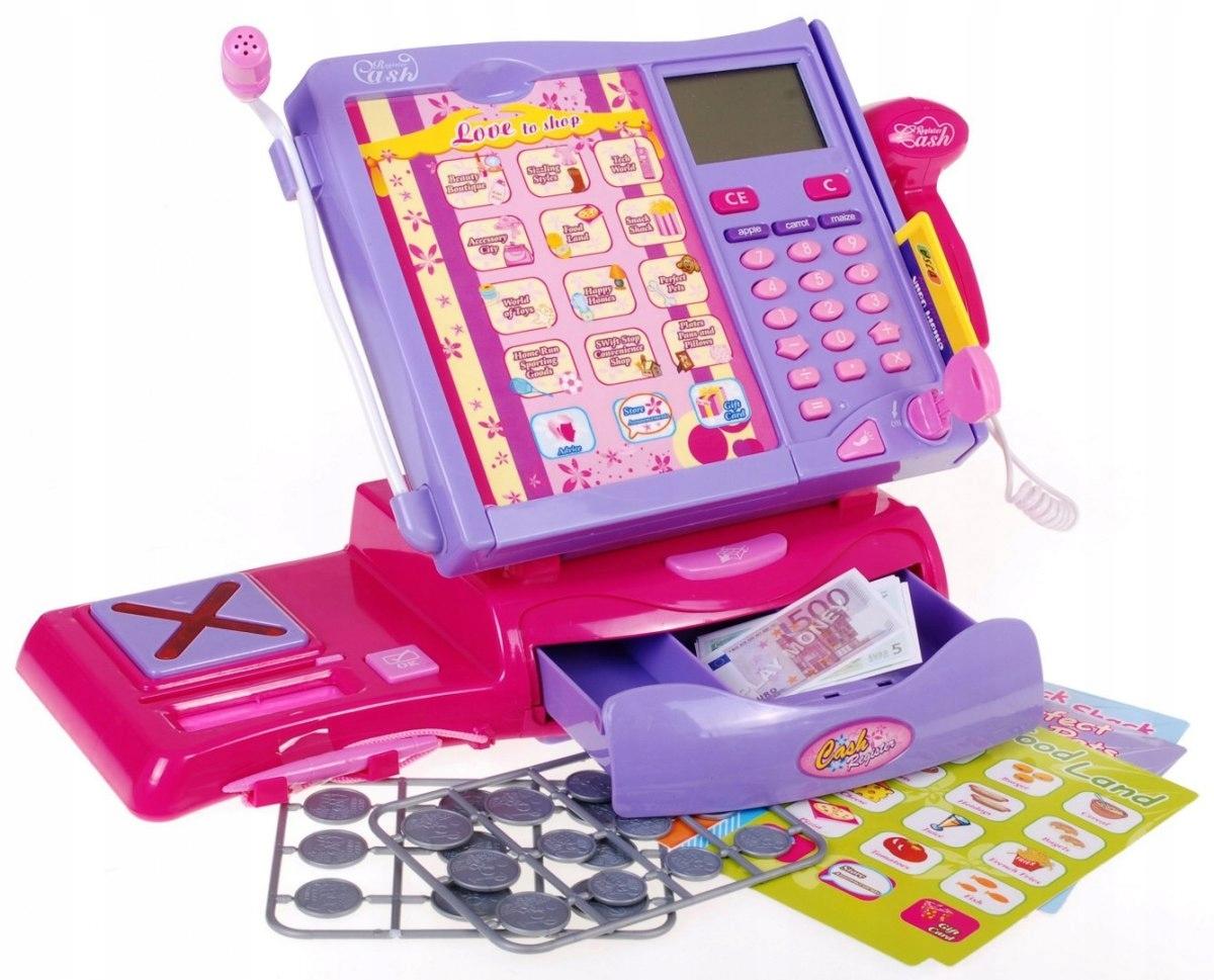 Dětská elektronická dotyková pokladna s váhou růžová