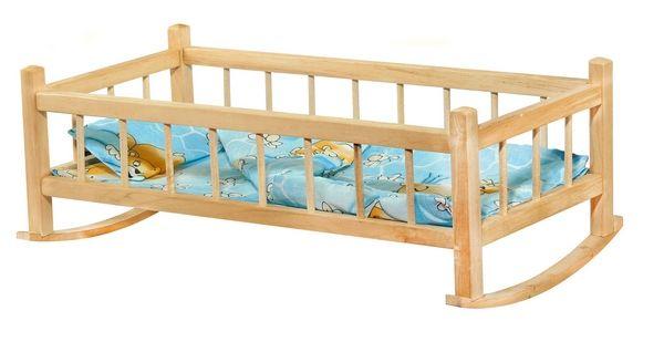 Dřevěná postýlka pro panenky kolébka 2v1 medvídci 4012M