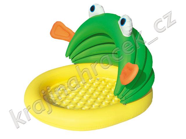 Dětský nafukovací bazének brouzdaliště se stříškou žabka