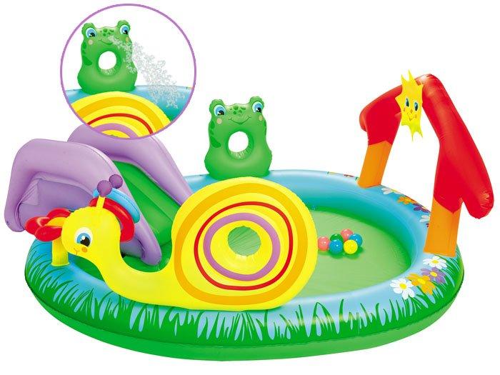 Bestway dětský nafukovací bazén bazének slimák s míčky 211/155/81 cm 53055+52027