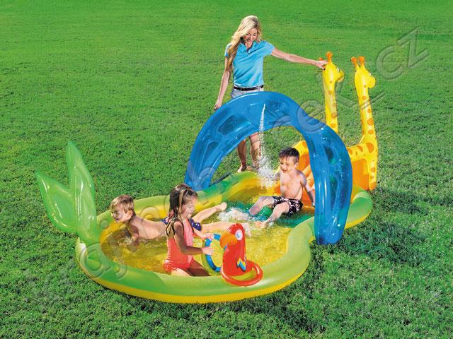 Dětský nafukovací bazének skluzavka ZOO