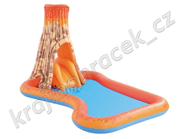 Dětský nafukovací bazének skluzavka sopka
