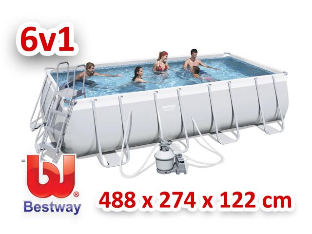 Bestway zahradní bazén 488/274/122 cm 6 v 1 56390