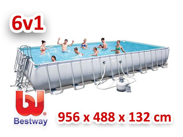 Bestway bazén s konstrukcí 956/488/132 cm 6v1 56623