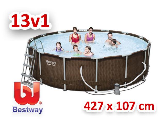 Bestway zahradní bazén rattan Steel Pro Frame 427/107 cm 13v1 56647
