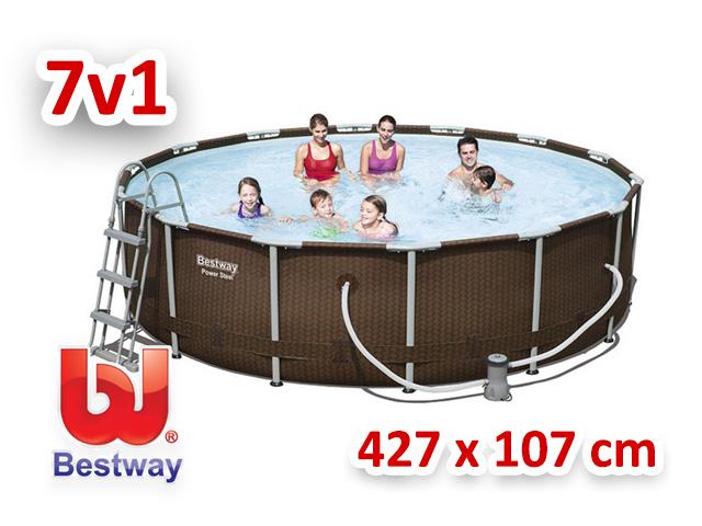Bestway zahradní bazén rattan Steel Pro Frame 427/107 cm 7v1 56647