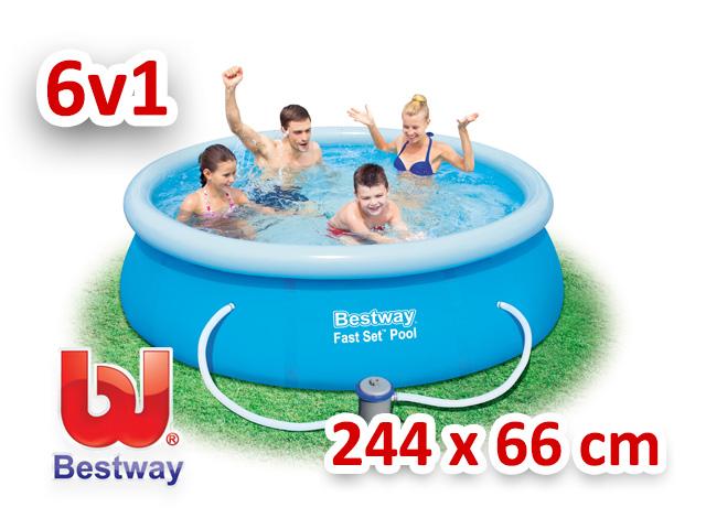 Bestway zahradní bazén s nafukovacím límcem 244/66 cm 6v1