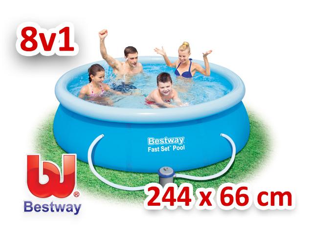 Bestway zahradní bazén s nafukovacím límcem 244/66 cm 8v1