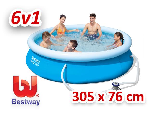 Bestway zahradní bazén s nafukovacím límcem 305/76 cm 6v1