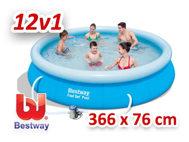 Bestway zahradní bazén s nafukovacím límcem 366/76 cm 12v1