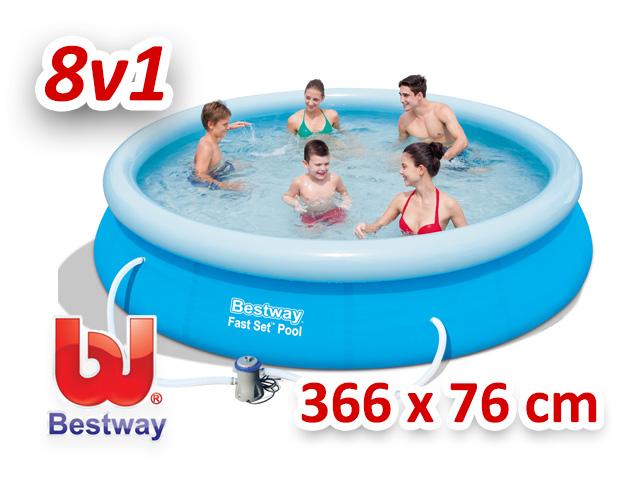 Bestway zahradní bazén s nafukovacím límcem 366/76 cm 8v1