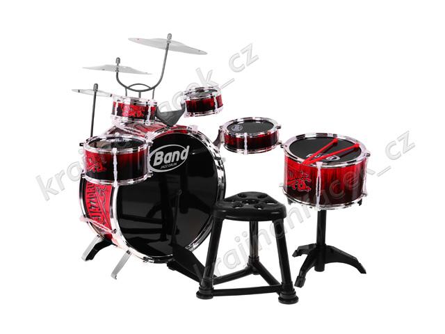 Dětské bubny 6 bubnů 3 činely stoleček bicí