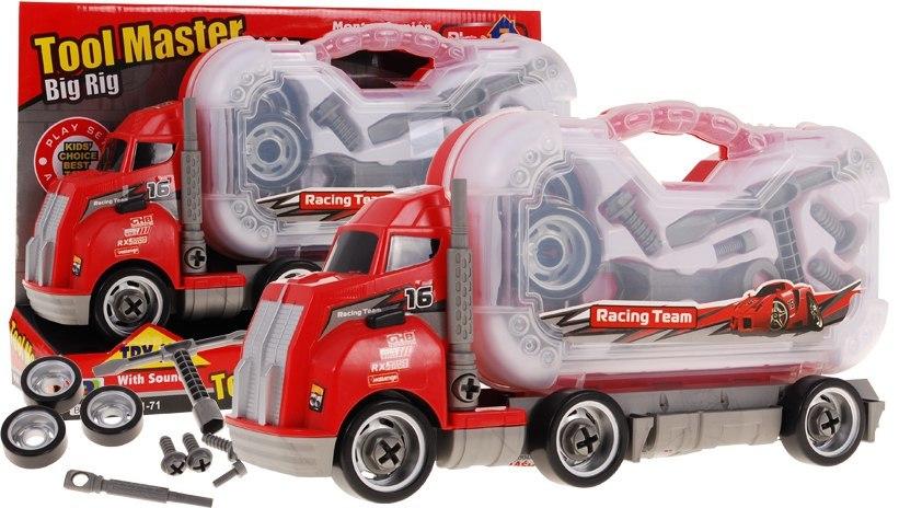 Kamion náklaďák + kufřík s nářadím zvuková hračka MACK Cars Tir