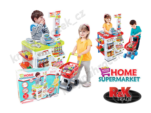 Supermarket obchod s doplňky: pokladna vozík zboží - 2 barvy