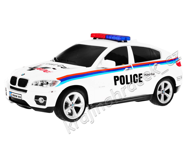 Policejní auto na dálkové ovládání + dobíjecí akumulátor BMW X6 1:14