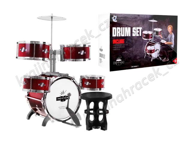 Dětské bubny 5 bubnů činel stoleček bicí