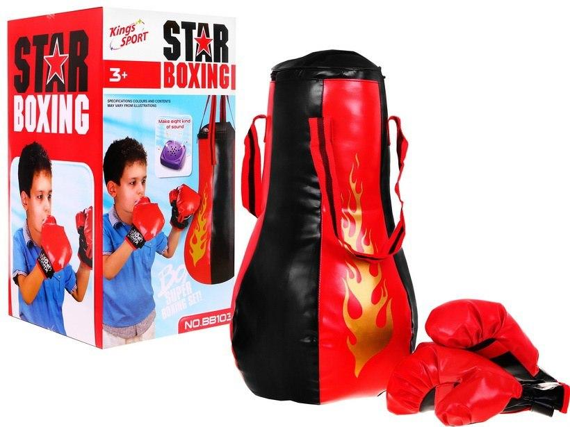 Dětská sada na boxování se zvuky boxerské rukavice a pytel