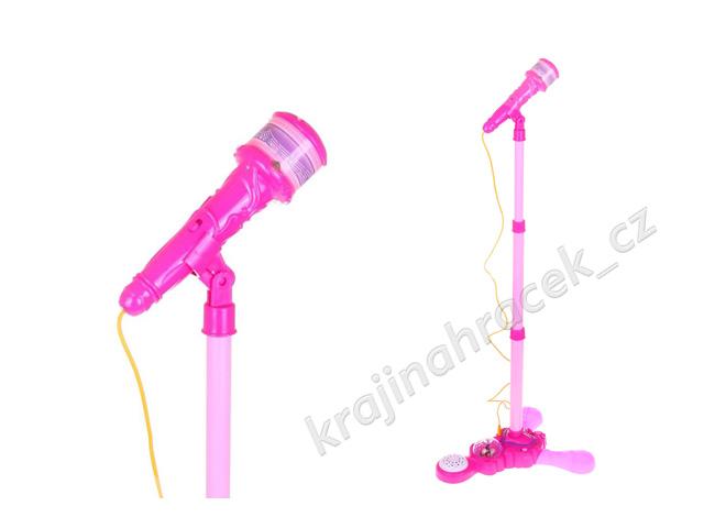 Dětský růžový mikrofon na stojanu Mp3 projektor