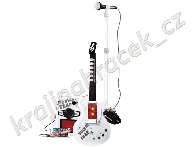 Dětská elektrická kytara + stojan a mikrofon + zesilovač