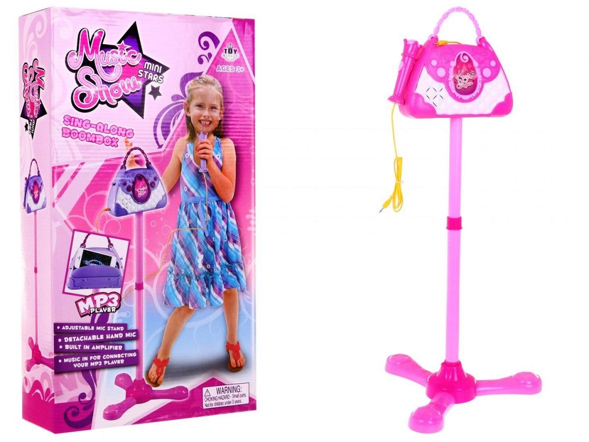 Mikrofon karaoke na stativu s poličkou