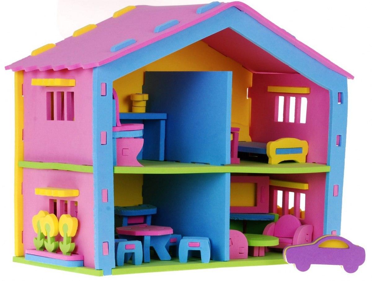 Pěnové puzzle domeček pro panenky + auto nábytek