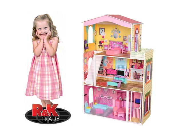 Obrovský dřevěný domeček pro panenky vysoký 116 cm s výtahem + nábytek