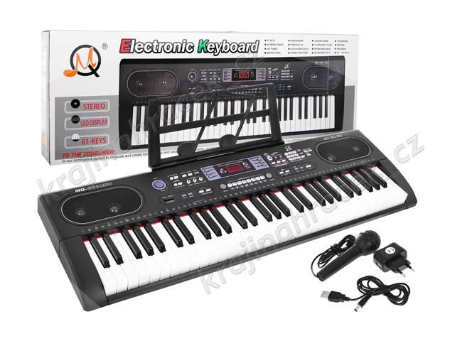 Velké klávesy keyboard + mikrofon + usb + adaptér