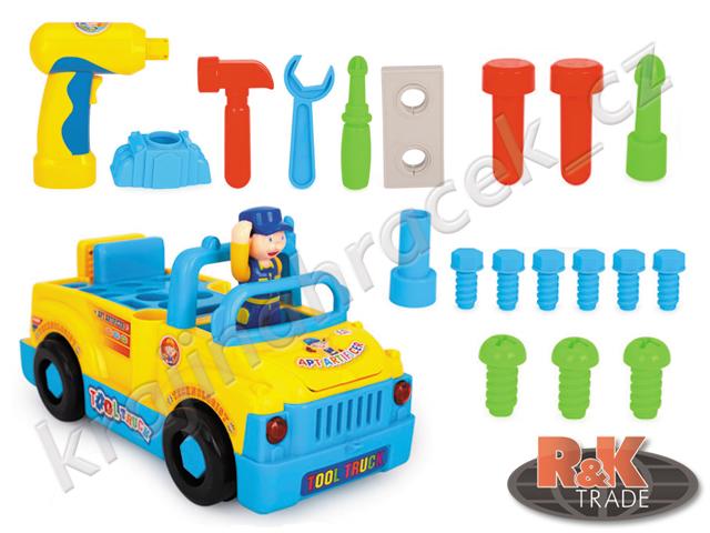Huile Toys malý kutil jezdící auto s nářadím + autošroubovák