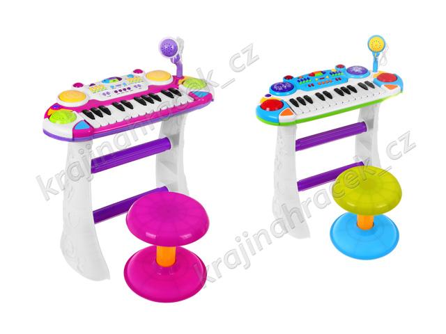Dětské klávesy varhánky s mikrofonem + taburet