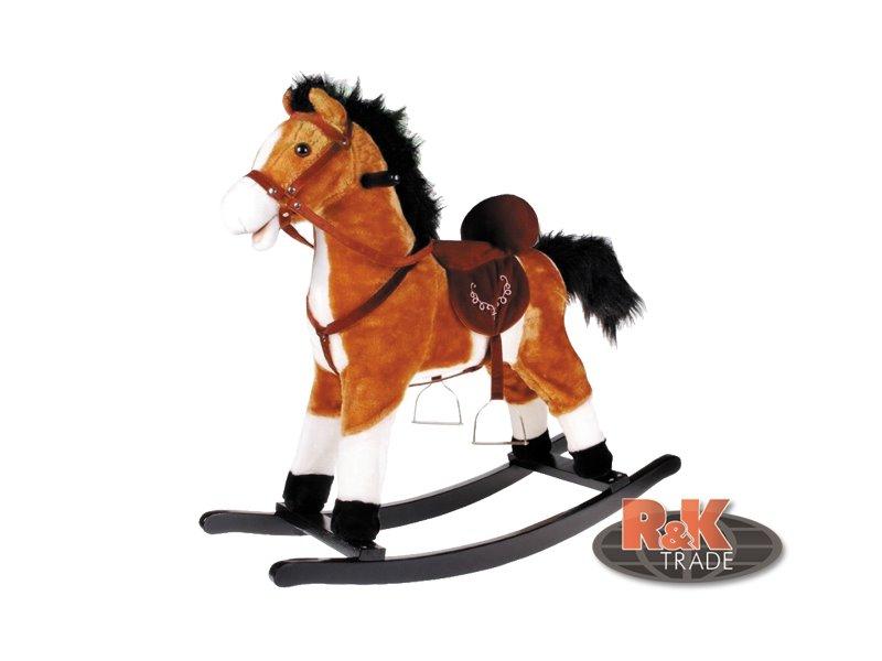 Velký houpací kůň koník se zvuky hýbe ocasem zvuk