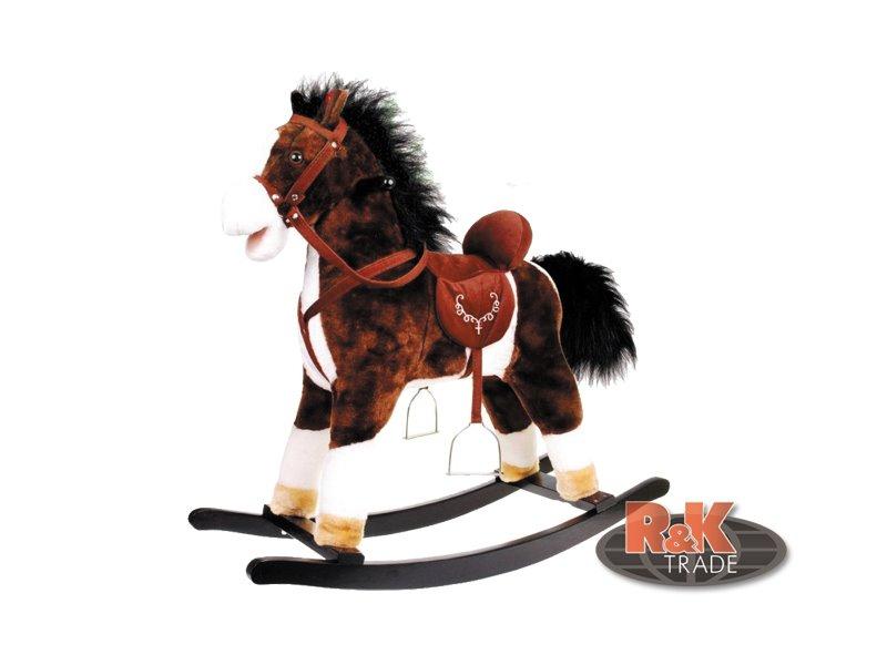 Velký houpací kůň se zvuky hýbe ocasem tmavě hnědý