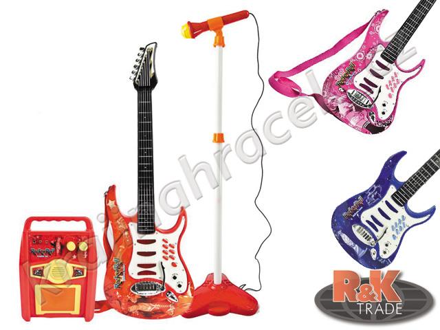 Dětská elektrická kytara + mikrofon zesilovač