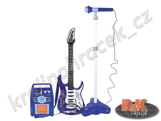 Dětská elektrická kytara + mikrofon zesilovač modrá