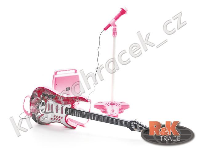 Dětská elektrická kytara + mikrofon zesilovač růžová
