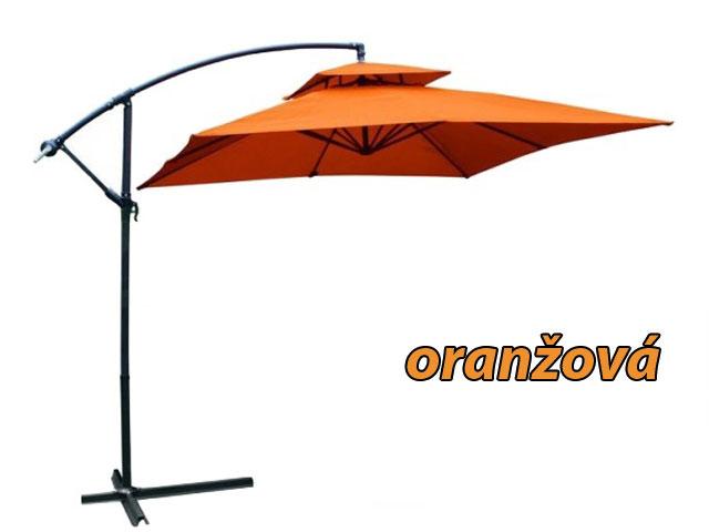 Velký polohovatelný slunečník čtvercový oranžový