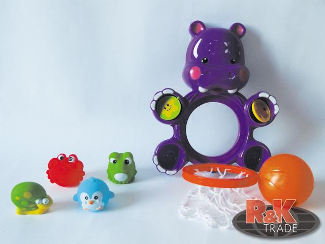 Dětská hračka hroch do vany hrošík do vody pro děti basketbal