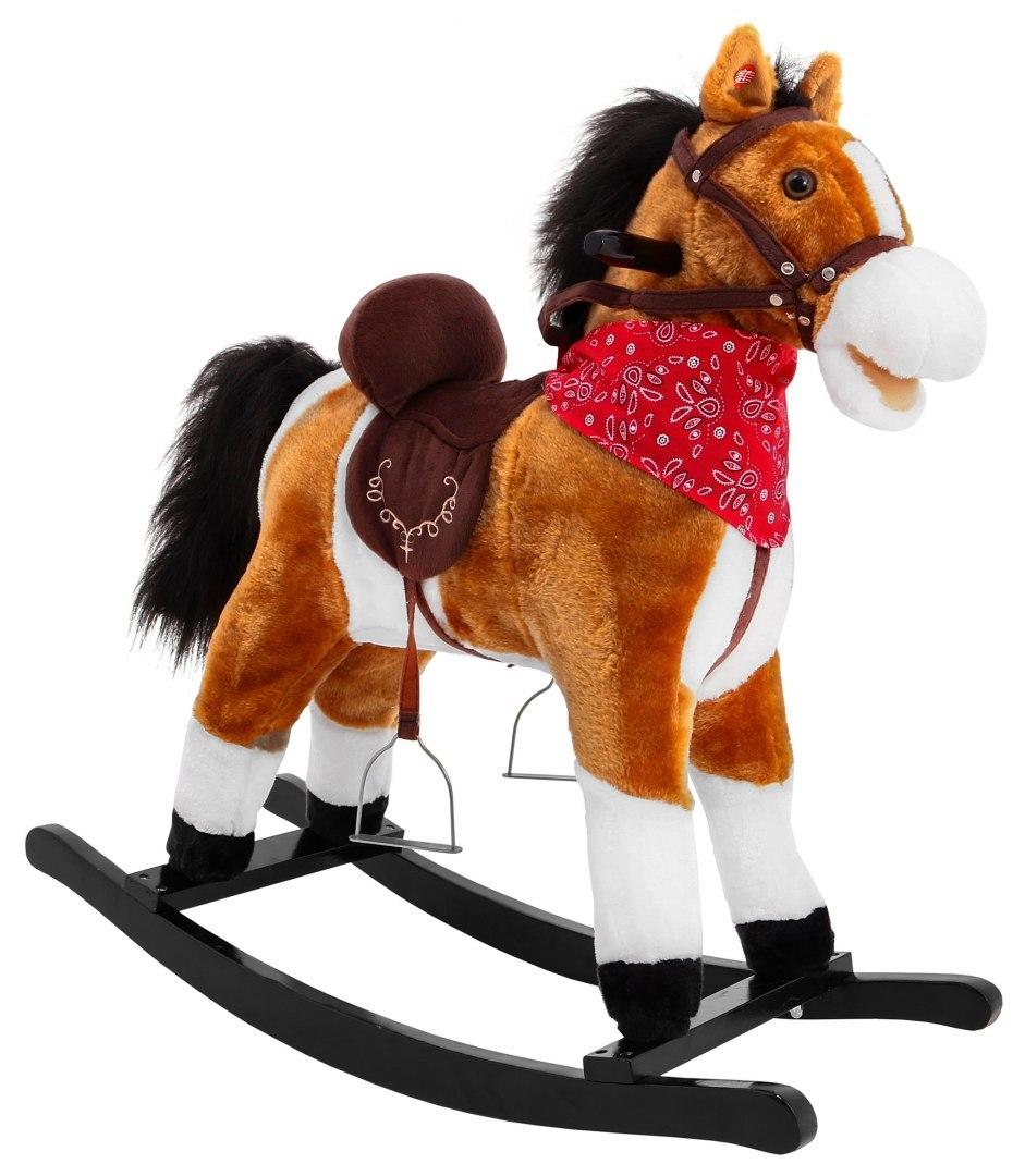 Velký houpací kůň se zvuky hýbe ocasem světle hnědý