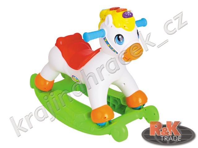 Huile Toys multifunkční houpací kůň koník se zvuky 2 v 1 chodítko
