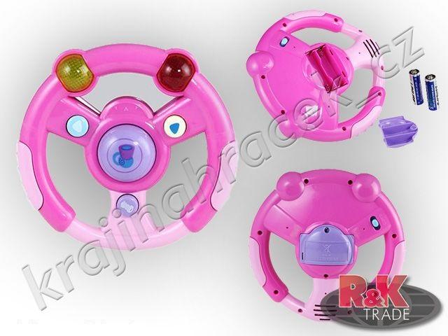 3 x chrastítko štěrkátko volant, mobil, klíče růžové provedení