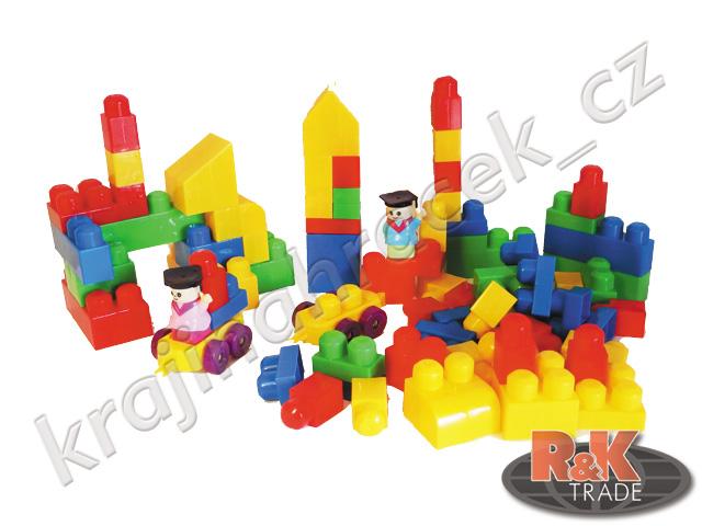 Barevná stavebnice pro děti velké dílky 90 ks blocks + figurky