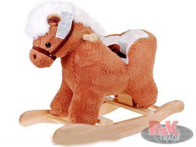 Plyšový houpací koník sedátko houpadlo kůň