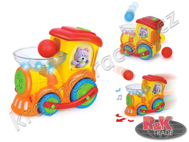 Vláček mašinka na baterie s míčky vlák Huile Toys