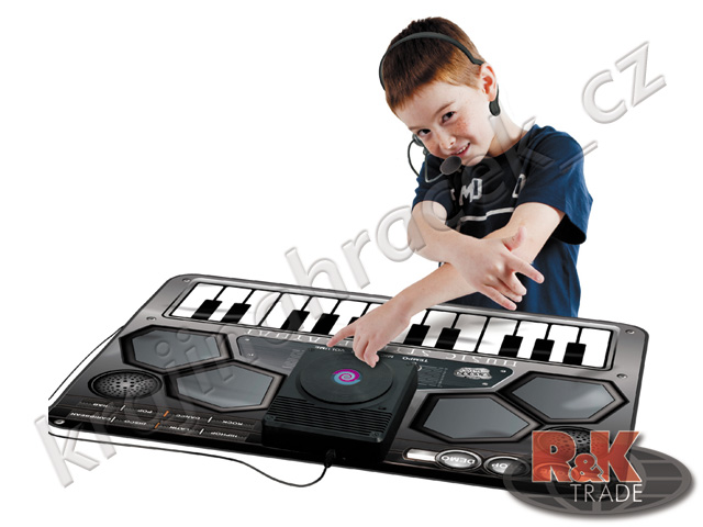 Hudební hrací podložka klávesy hrající keyboard bicí + sluchátka