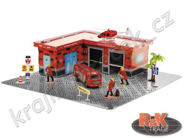 Velká sada hasičksá stanice hasiči + vrtulník a dodávka